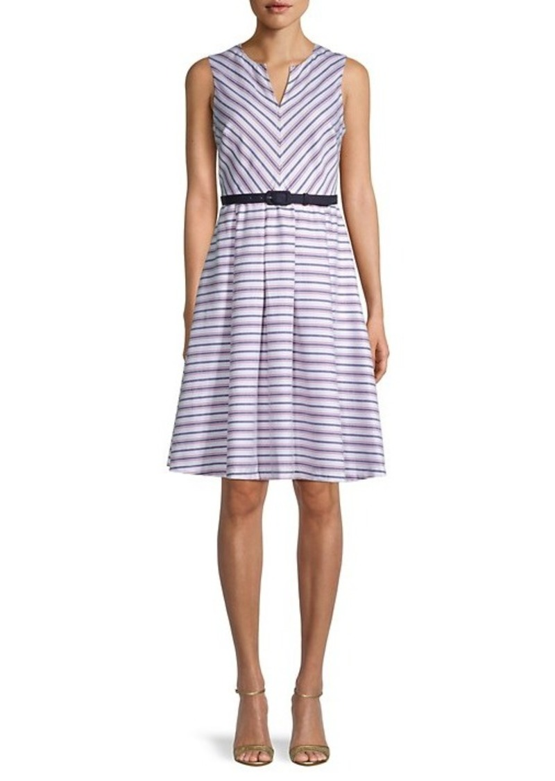 Karl Lagerfeld Belted Stripe A-Line Dress