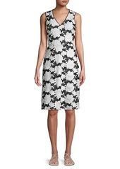 Karl Lagerfeld Bi-Color Floral Lace Sheath Dress