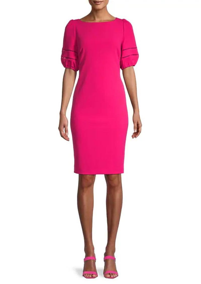 Karl Lagerfeld Boatneck Puffed-Sleeve Sheath Dress