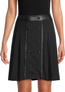Karl Lagerfeld Button-Front Pleated Skirt