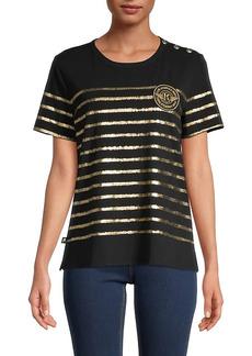 Karl Lagerfeld Button-Shoulder T-Shirt