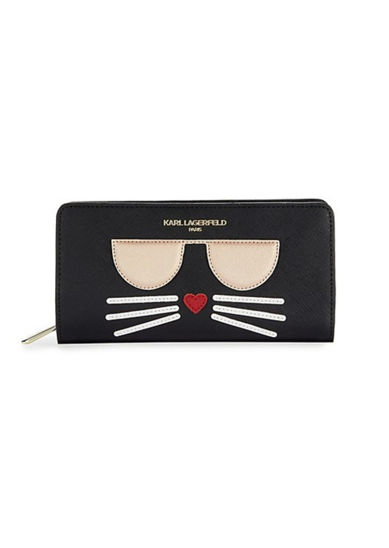 Karl Lagerfeld Choupette Patch Continental Faux Leather Wallet