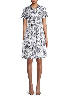 Karl Lagerfeld Conversational-Print Belted Shirtdress