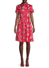 Karl Lagerfeld Conversational Printed Tie-Belt Shirtdress