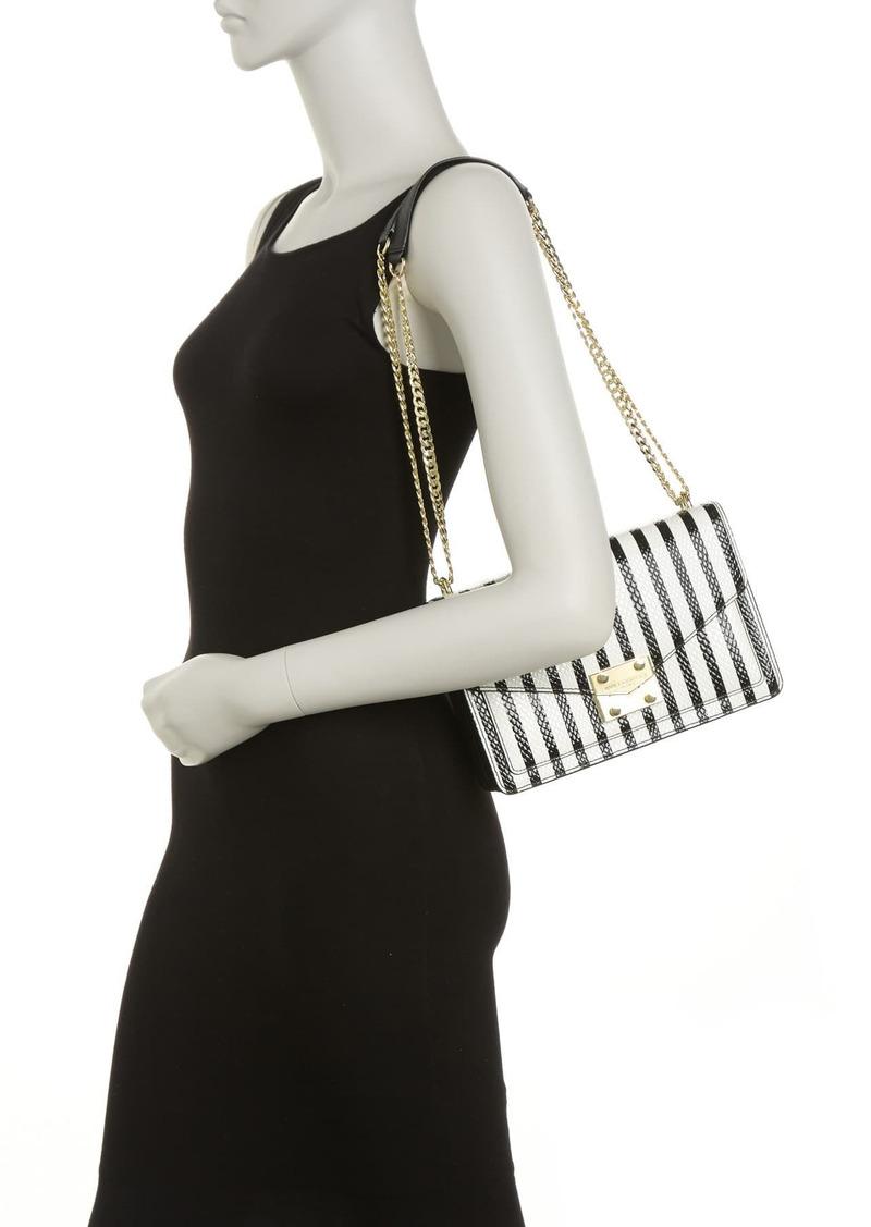 Karl Lagerfeld Corinne Snake Skin Embossed Cow Leather Shoulder Bag