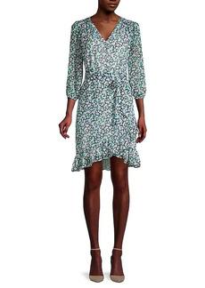 Karl Lagerfeld Ditzy Floral-Print Faux-Wrap Dress