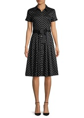 Karl Lagerfeld Dot-Print Button-Front Dress