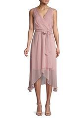 Karl Lagerfeld Dot-Print Chiffon Wrap-Effect Dress