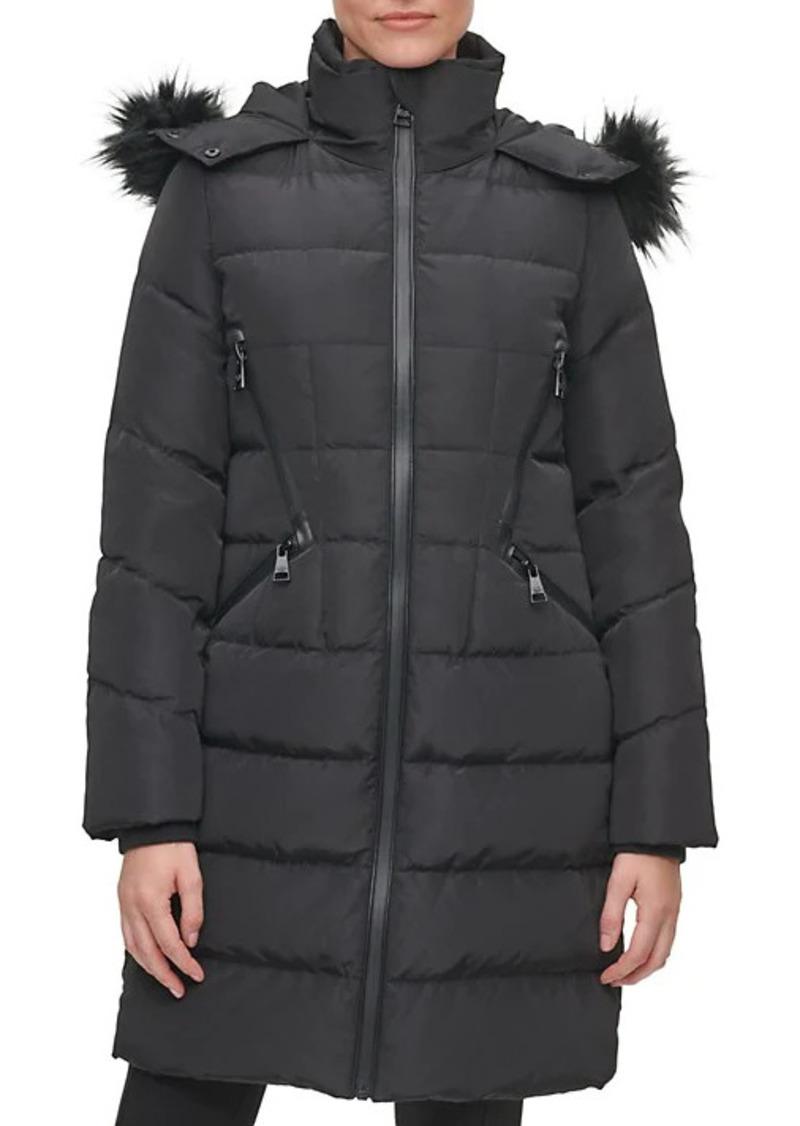 Karl Lagerfeld Down-Blend Long Faux Fur-Trimmed Puffer