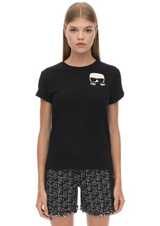 Karl Lagerfeld Embellished Cotton Jersey T-shirt