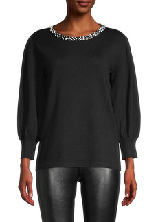 Karl Lagerfeld Embellished-Neck Sweater