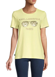 Karl Lagerfeld Embellished Sunglasses Logo T-Shirt