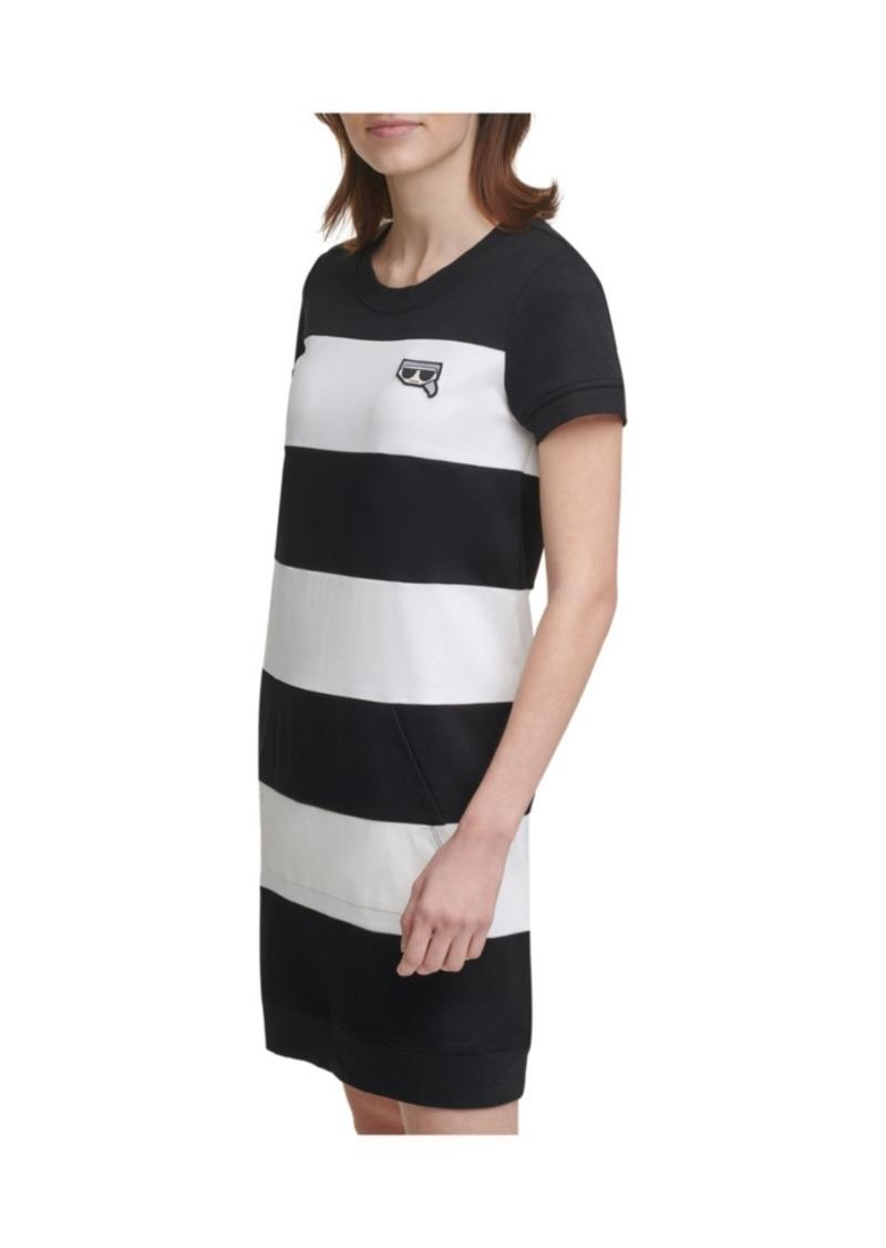 Karl Lagerfeld Paris Emoji Patch Stripe Dress