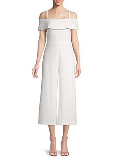 Karl Lagerfeld Eyelet Wide-Leg Cotton Jumpsuit