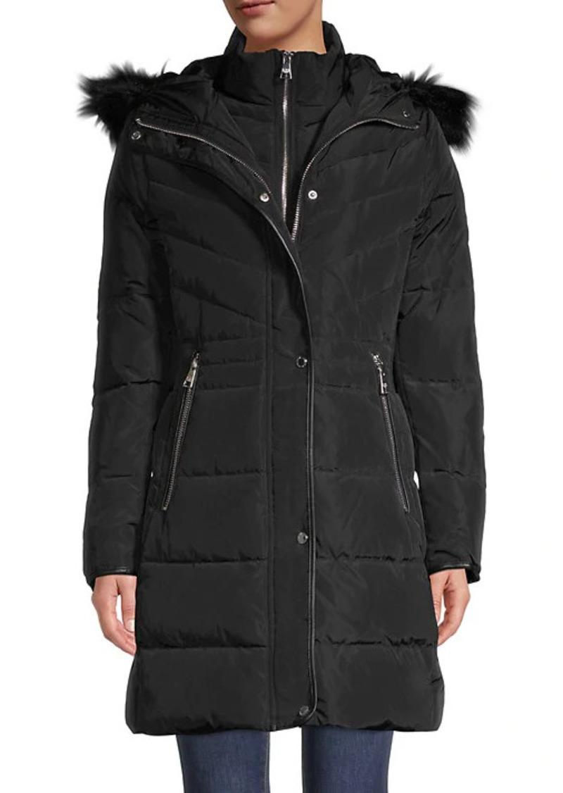 Karl Lagerfeld Faux Fur-Trim Down Parka