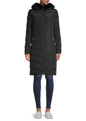Karl Lagerfeld Faux Fur-Trim Quilted Down Coat