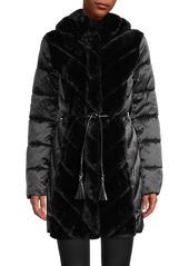 Karl Lagerfeld Faux Fur-Trimmed Puffer Coat