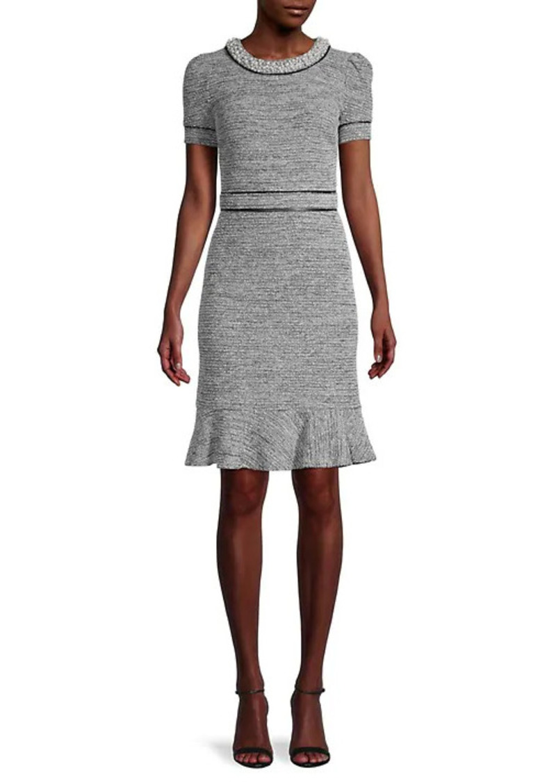 Karl Lagerfeld Faux-Pearl Embellished Sheath Dress