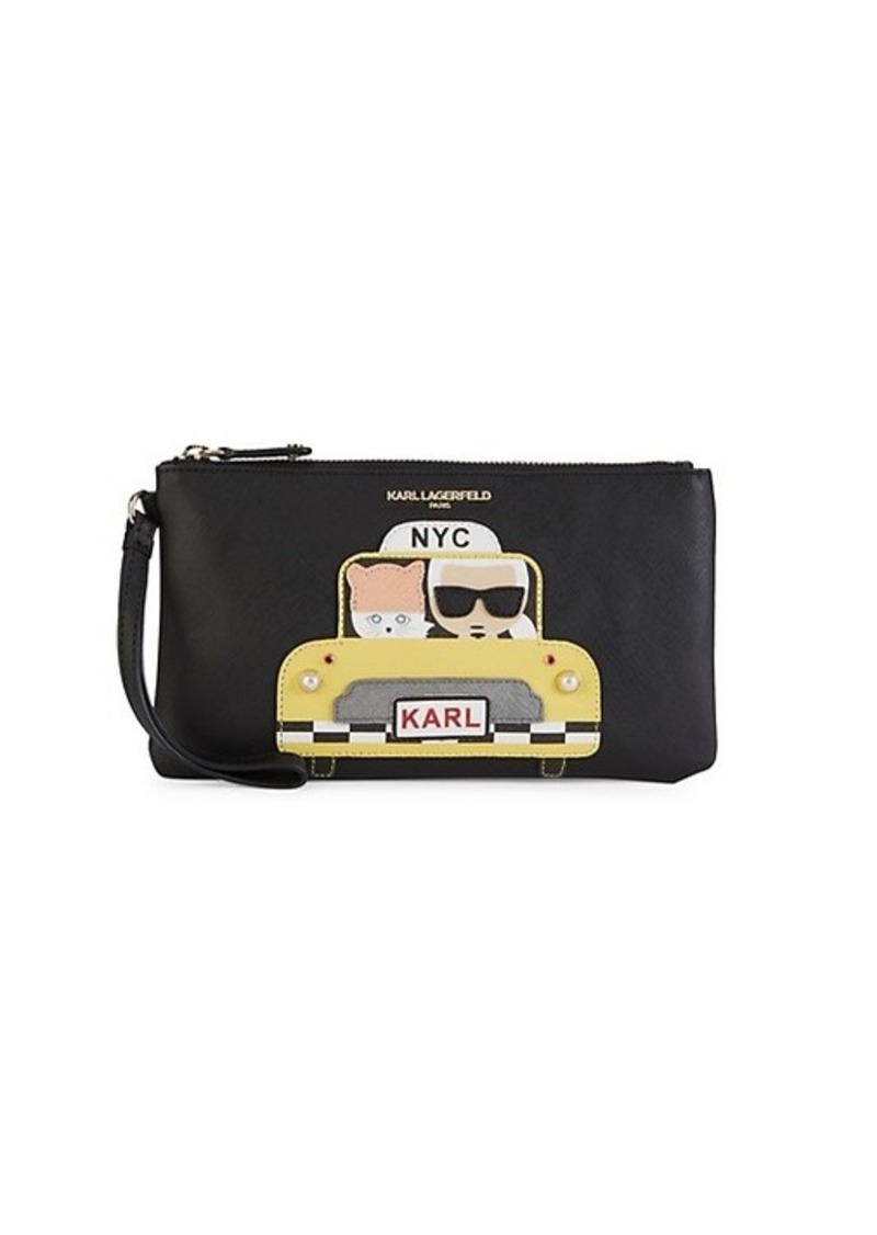 Karl Lagerfeld Faux Pearl Embellished Taxi Graphic Wristlet