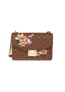Karl Lagerfeld Floral & Logo Leather Crossbody Bag