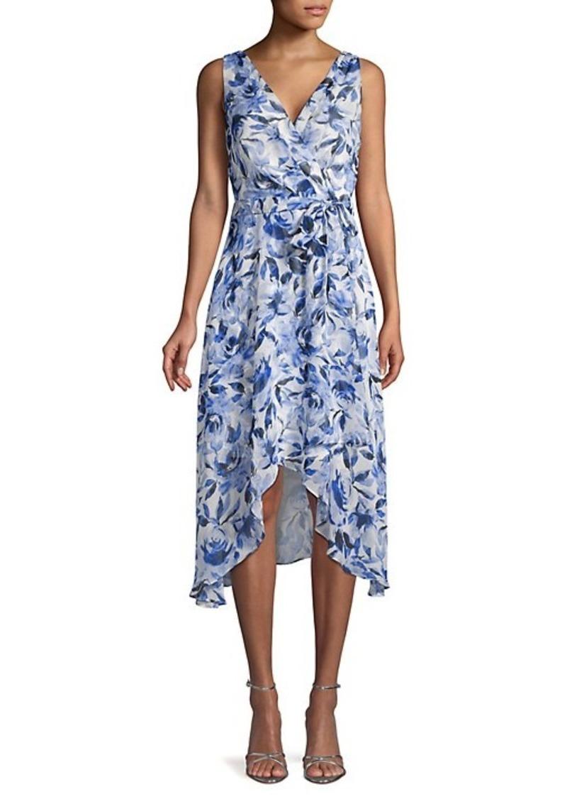 Karl Lagerfeld Floral Chiffon High-Low Dress