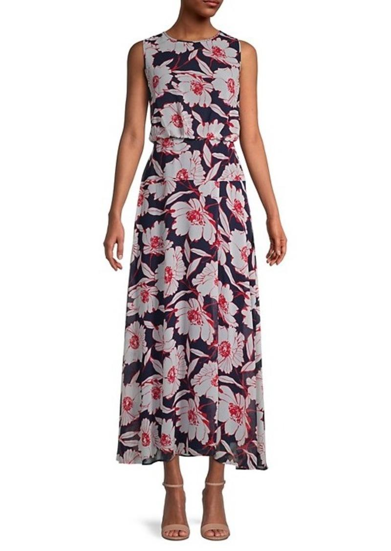 Karl Lagerfeld Floral Chiffon Sleeveless Dress