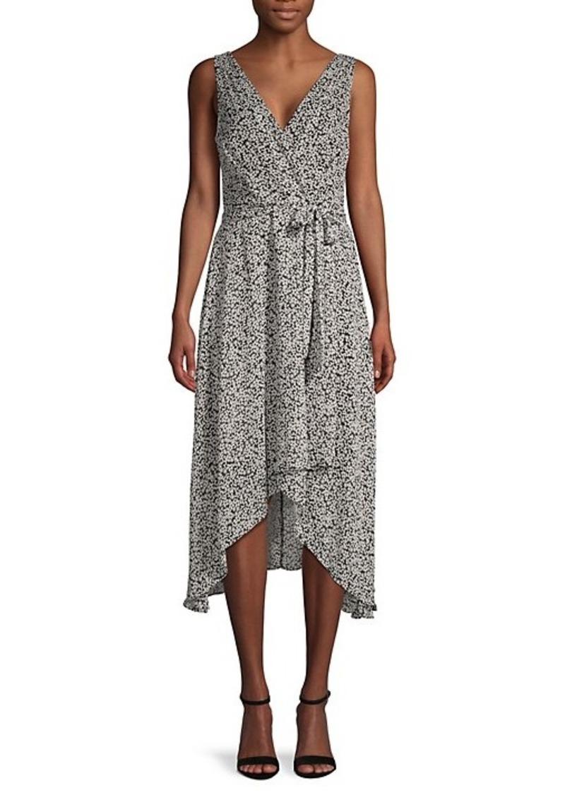 Karl Lagerfeld Floral Chiffon Wrap-Effect Dress