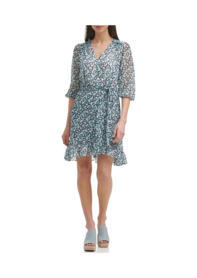 Karl Lagerfeld Paris Floral Faux Wrap Dress