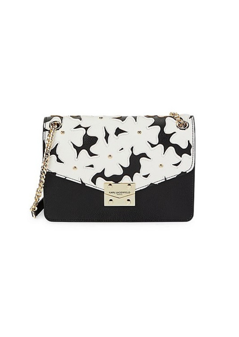 Karl Lagerfeld Floral Leather Crossbody Bag