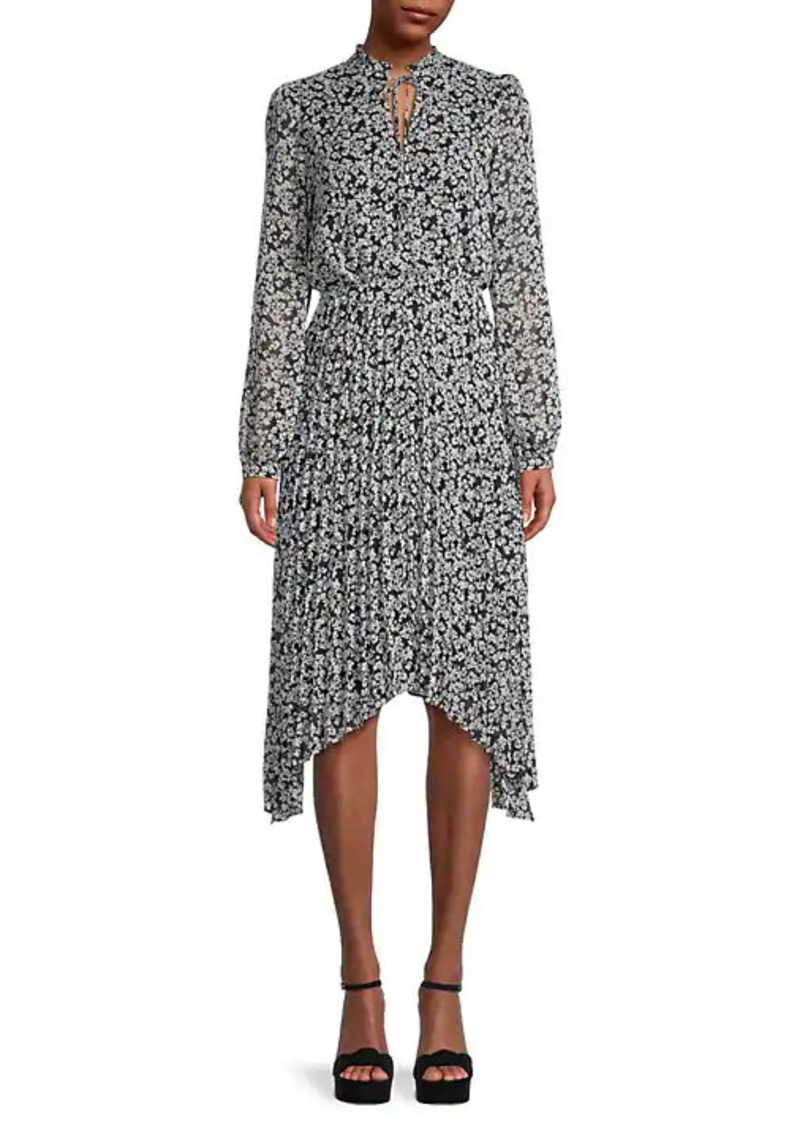 Karl Lagerfeld Floral-Print Asymmetrical-Hem Dress
