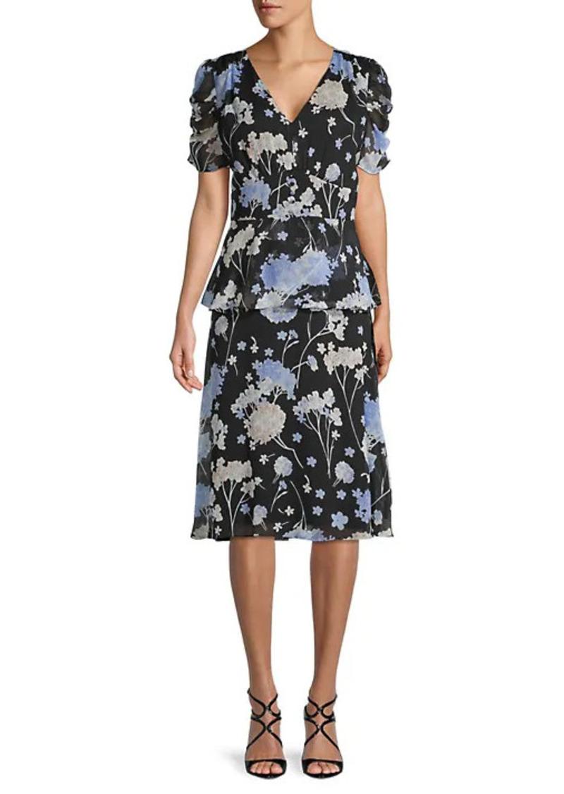 Karl Lagerfeld Floral-Print Chiffon Dress