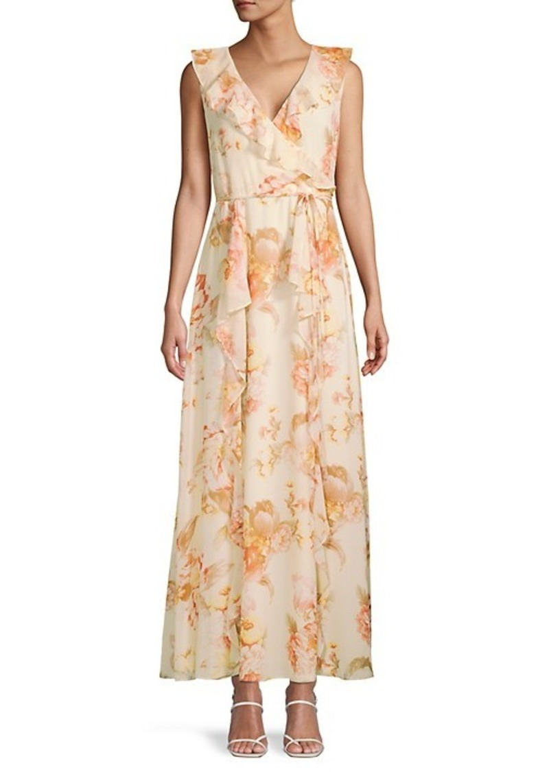 Karl Lagerfeld Floral-Print Tie-Waist Ruffle Dress