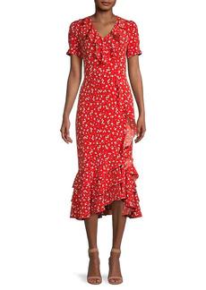 Karl Lagerfeld Floral Ruffle Midi Dress
