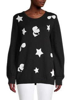 Karl Lagerfeld Front-Graphic Cotton-Blend Sweater