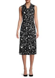 Karl Lagerfeld Heart-Print Tie-Neck Dress