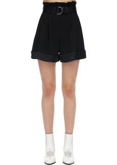 Karl Lagerfeld High Waist Crepe & Satin Shorts