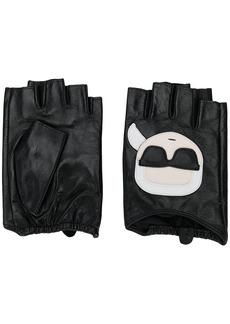 Karl Lagerfeld Ikonic Karl-appliqué fingerless gloves