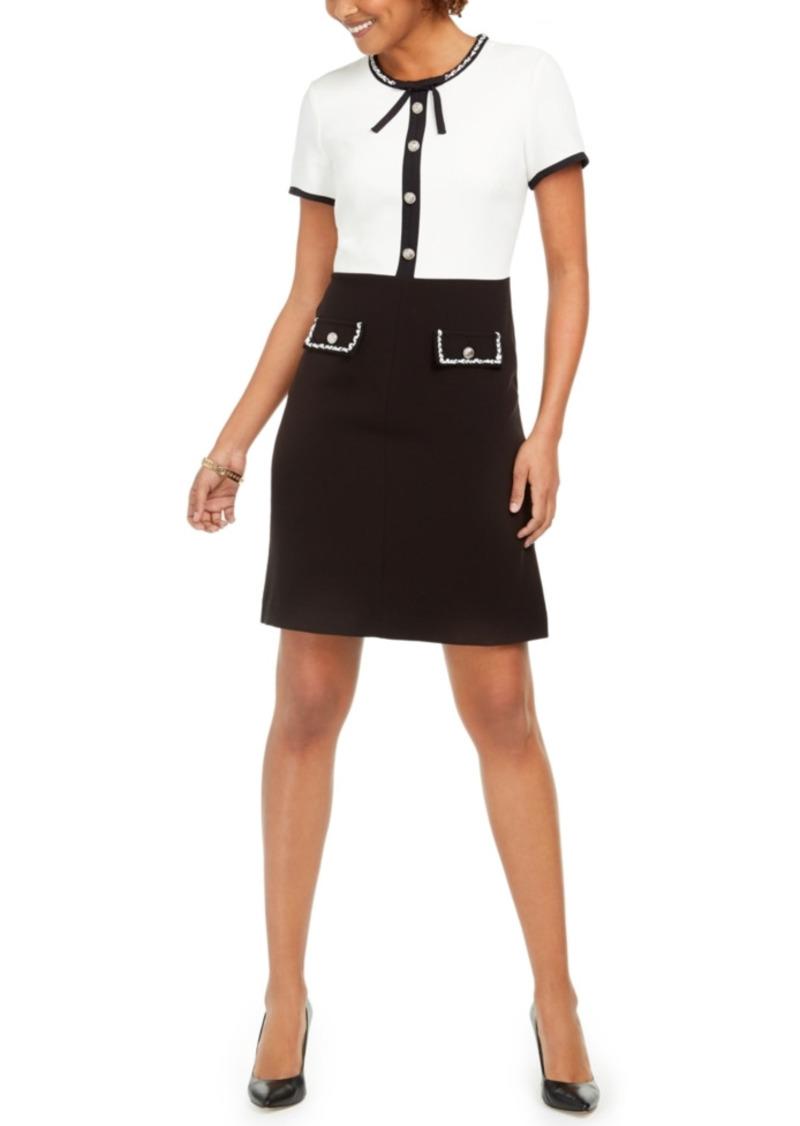 Karl Lagerfeld Colorblocked Tie-Neck Dress