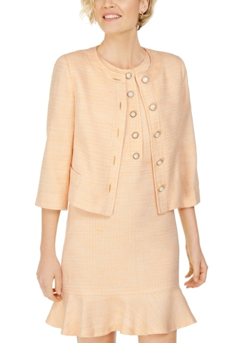 Karl Lagerfeld Embellished-Button Tweed Jacket