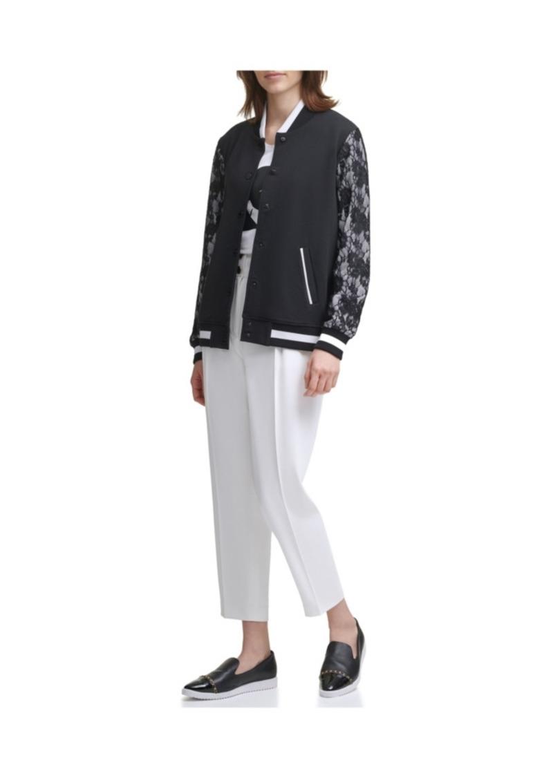 Karl Lagerfeld Lace Sleeve Bomber Jacket