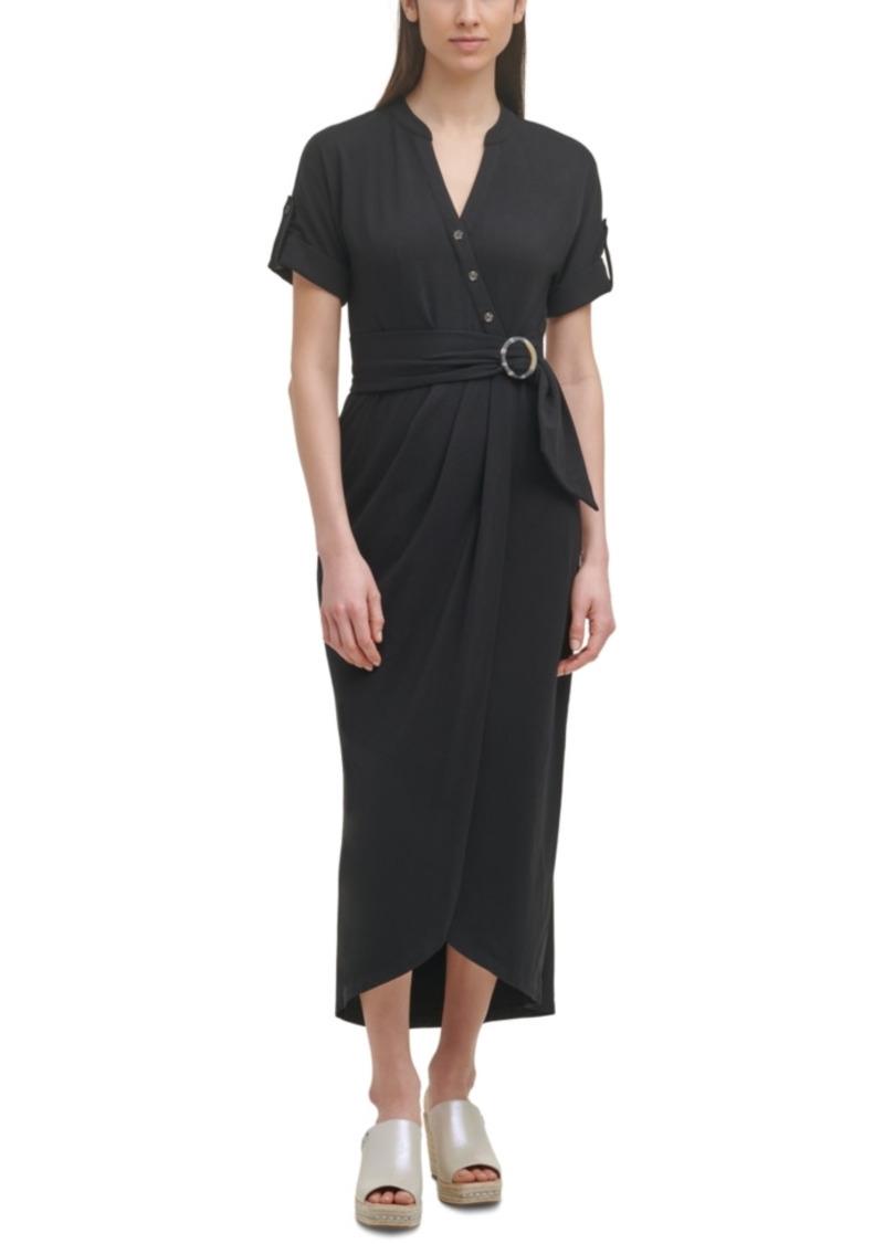 Karl Lagerfeld Paris Belted Midi Knit Dress