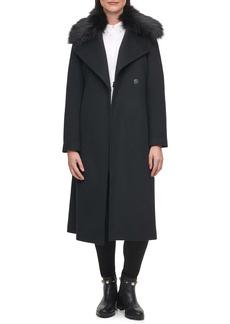 Karl Lagerfeld Paris Belted Wool Blend Coat with Faux Fur Trim