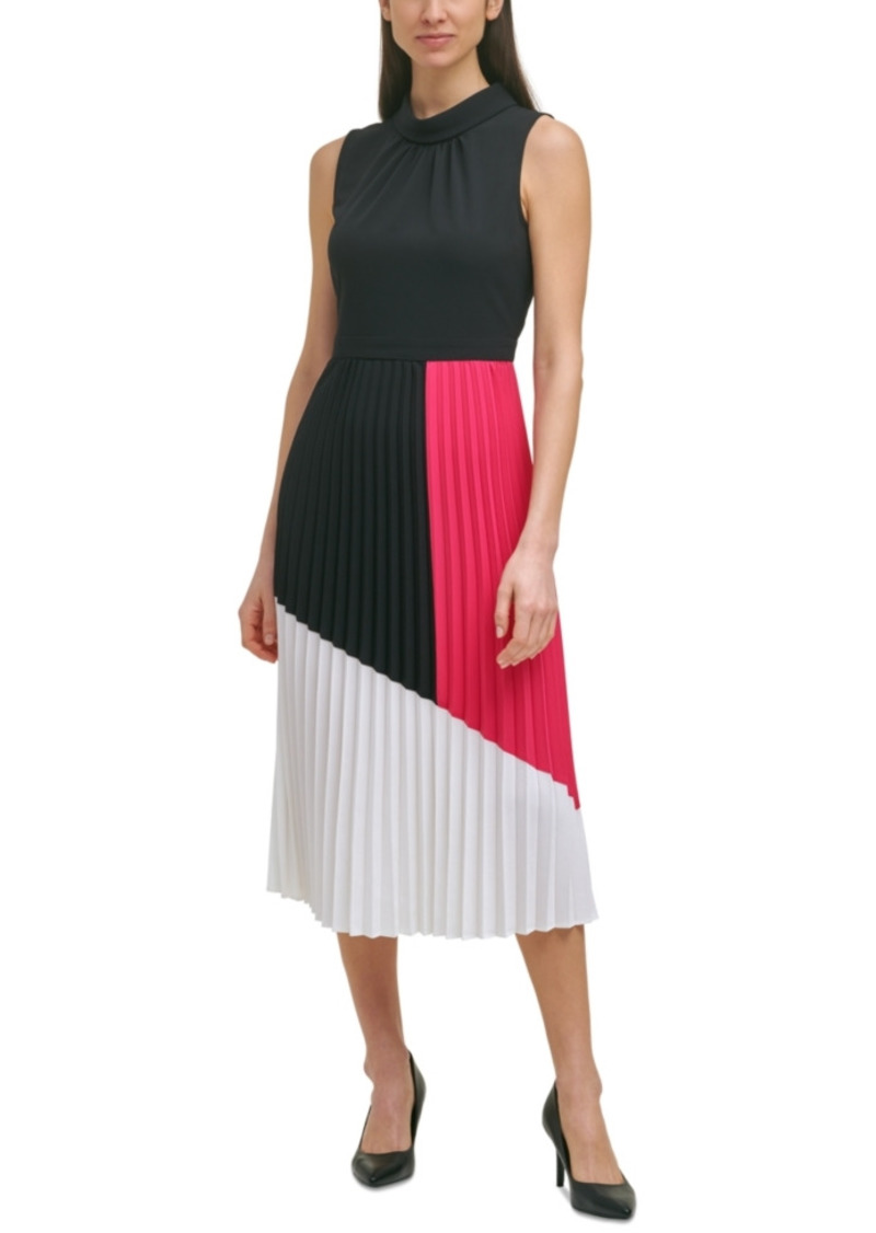 Karl Lagerfeld Paris Colorblocked Pleated Dress