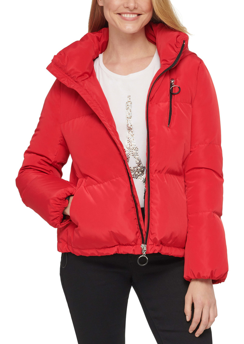 Karl Lagerfeld Paris Cropped Water Resistant Hooded Down & Feather Puffer Coat