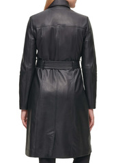 Karl Lagerfeld Paris Double Breasted Leather Trench Coat