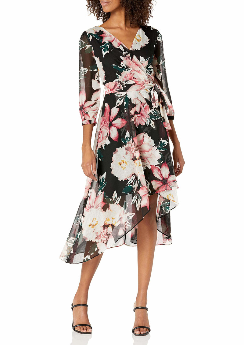 KARL LAGERFELD PARIS DRESSES Karl Lagerfeld Paris Women's Printed Chiffon Wrap Dress