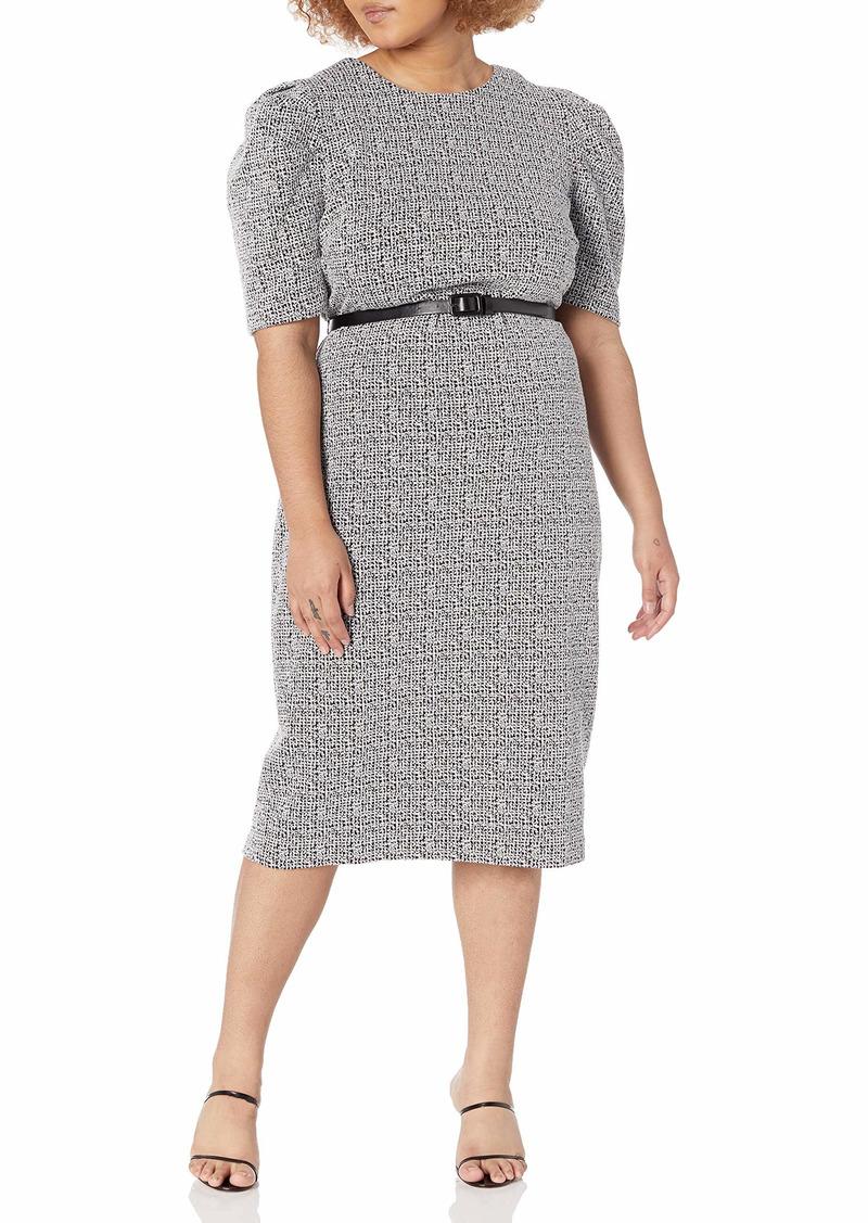 KARL LAGERFELD PARIS DRESSES Karl Lagerfeld Paris Women's Puff Sleeve Knit Tweed Midi Dress
