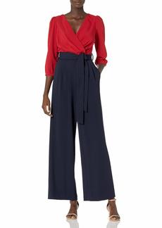 Karl Lagerfeld Paris Dresses Women's Crepe Colorblock Wrap Jumpsuit