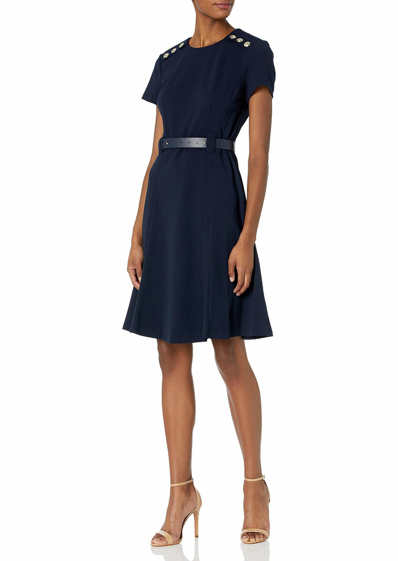Karl Lagerfeld Paris Dresses Women's Crepe Fit and Flare Belted Dress