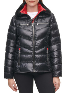 Karl Lagerfeld Paris Faux Fur Collar Short Puffer Jacket